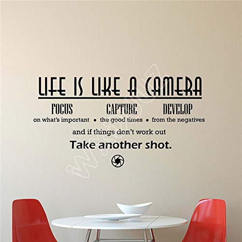 fenshop Das Leben ist wie eine Kamera wandtattoo fotostudio dekor Vinyl Aufkleber Kunst Poster wandaufkleber wohnkultur Wohnzimmer 58x30 cm - Kamera Leben Eine Das Ist Wie