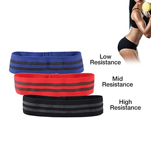Charminer banda fitness elastica resistenza, banda antiscivolo set di 3, fasce bande glute attivazione hip band allenamento gambe glutei donna per pilates/ginnastica/danza/yoga
