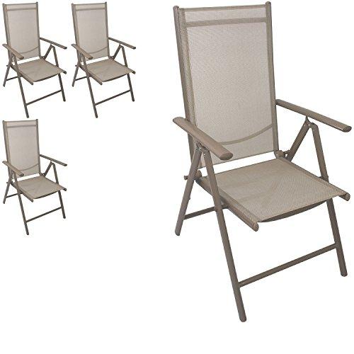 Multistore 2002 4 Stück Aluminium Hochlehner Positionsstuhl klappbar Liegestuhl mit robuster Textilenbespannung Lehne 7-Positionen verstellbar Gartenstuhl
