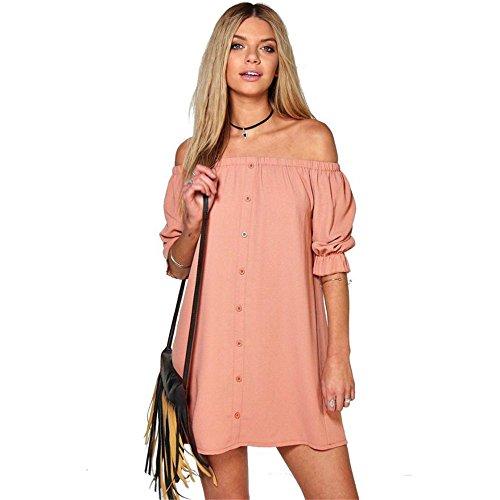 coco-clothing-frauen-wort-schulter-einfarbige-kleider-damen-mit-button-lose-minikleid-strand-s-rosa