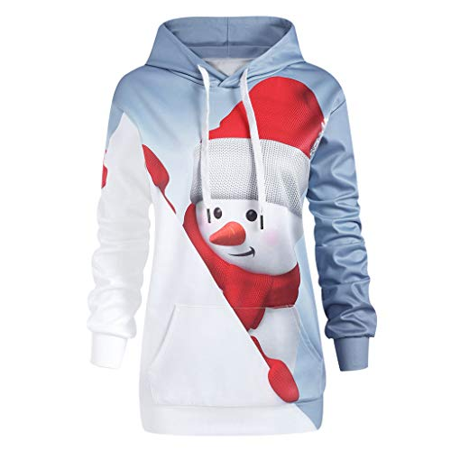 (OverDose Damen Frauen-Weihnachtsmit Kapuze drucken Lange Hülsen-Sweatshirt-Blusen-Strickjacken-Partei-im Freien dünne Pullover Outwear Bluse)