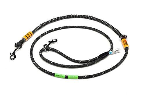 Idealeash Trekking Lite Hundeleine Länge 200 cm Dicke 8mm mit patentiertem Bite Stop System Einstellbare Länge Sehr Stärke Ausführung für Hund bis 20kg Reflektierende Leine Schwarz