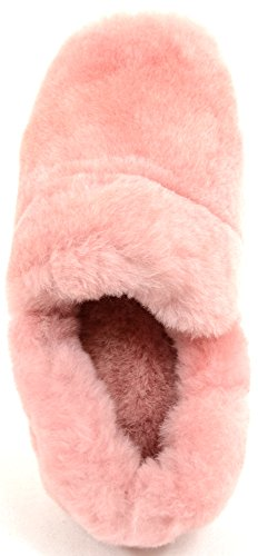 Slip On-slippers Pour Femme En Véritable Mouton Rose (rose)