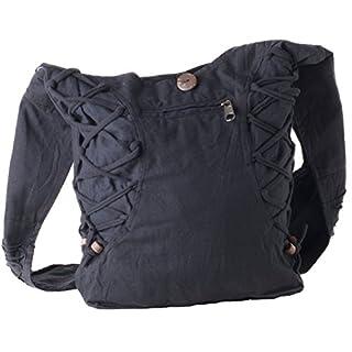 Vishes Alternative Bekleidung - Yogi Umhängetasche aus Baumwolle mit Schnüren und Holzperlen schwarz-schwarz
