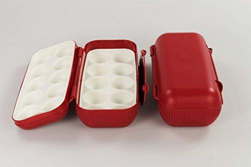 TUPPERWARE Kühlschrank Eierbox rot (2) Eier Box Aufbewahrung Dose Ei Kolumbus 15310