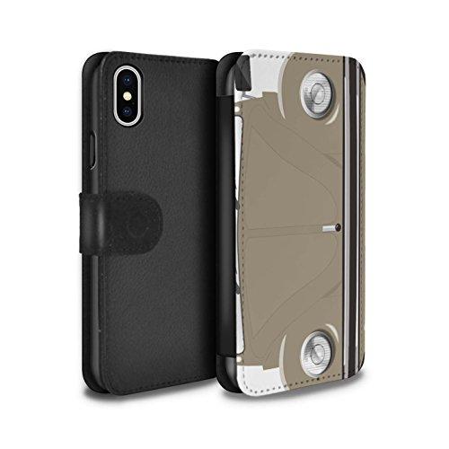 Stuff4 Coque/Etui/Housse Cuir PU Case/Cover pour Apple iPhone X/10 / Perle Blanche Design / Rétro Coccinelle Collection Sahara Beige