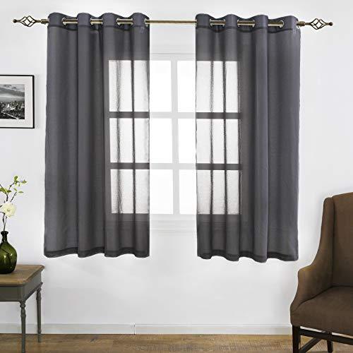 FLOWEROOM Grau Voile Vorhänge Transparent Gardinen mit Ösen Fensterschal Vorhänge2er Set 175x140 cm