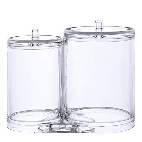 Tbestmax Make-up-Organizer Wattepads Halter Box Swab Jar Badezimmer Storage Clear Organizer Kosmetik Spender Trennwand mit 2 Fächern und Deckel (Badezimmer Storage Jars)