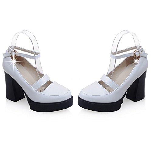 COOLCEPT Femmes Mode Cheville Court Chaussures Bout Ferme Bloc Chaussures Blanc
