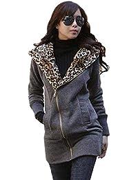 a081228714a4 Paolian Veste à Capuche décontractée Simple à Manches Longues léopard  zippée à la Mode pour Femmes
