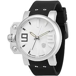 Shark Herren Armbanduhr Leuchtzeiger Übergroßende Krone Schwarze Silikon Uhrband SH169