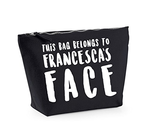 This Bag Belongs to... - Personalised Name - Fun Slogan, Make Up and Cosmetics Bag, Accessory Organiser Black/White