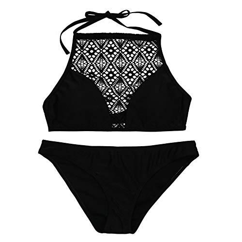 Xmiral Badeanzüge Damen Sandy Beach hängenden Hals-BH Sexy Bikini Set Wassersport Reizvolle Zweiteilig(S,Schwarz)