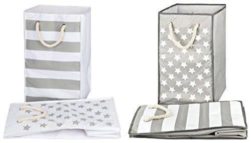 TOPP4u 2er Set Wäschekorb, Wäschesammler weiß + grau, 2 Designs Sterne & Streifen, 45 Ltr, 30x30x50 cm, faltbarer Wäschesack oder Spielzeugsack (Wäschekorb-set)