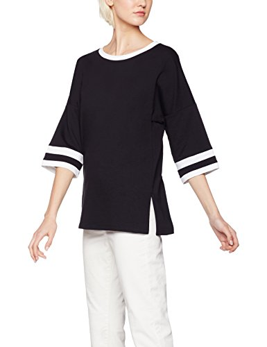 find-stripe-sleeve-jersey-de-deporte-para-mujer-negro-black-ivory-small