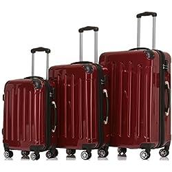 Beibye 2048 - Juego - Juego de maleta Beibye ruedas Gemelas rígida ekoffer Set, rojo