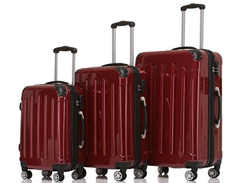 BEIBYE Hartschalen Koffer Trolley Rollkoffer Reisekoffer 4 Zwillingsrollen Polycabonat (Rot, Kofferset)
