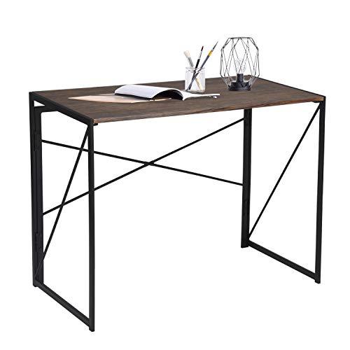 FURNITURE-R France Schreibtisch für Computer, faltbar, aus Holz und Metall, große Oberfläche (100 x 50 x 75 cm), PC für Kinder, Erwachsene, Spiele - Braun -