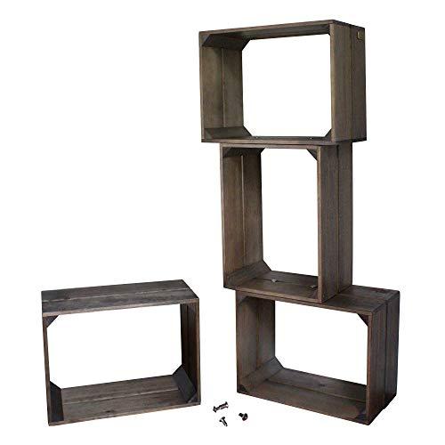 Liza line libreria componibile libreria componibile con 4 cassette in legno di pino - mensole stile vintage. mobile contenitore a 4 vani. pino massiccio - ogni cassa misura 40x30x20 cm (talpa)