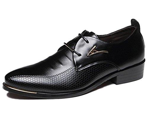 Minetom uomo autunno britannico stile elegante punta di piedi oxfords comfort pelle sintetica brogue vestito scarpe nero eu 40