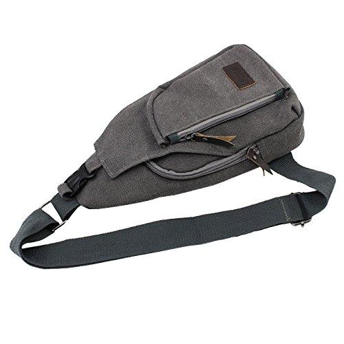 PsmGoods® Männer Umhängetasche Freizeit-Segeltuch-Taschen Reisen Wandern Tasche Rucksack Chest Pouch Sling (Grau Groß) Grau