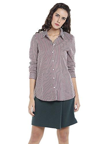 VERO MODA Damen Bluse Vmeia LS Shirt Mehrfarbig (Zinfandel Stripes:Snow White), 34 (Herstellergröße: XS)