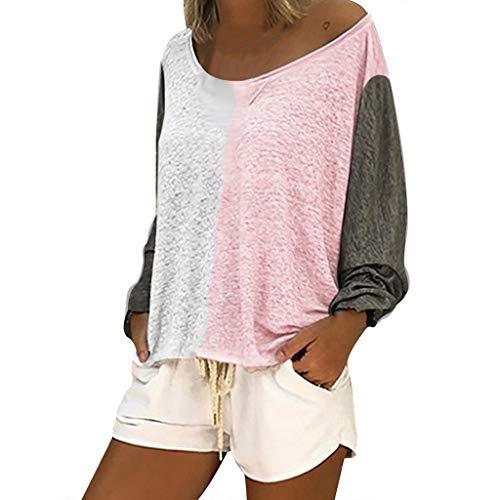 TianWlio Sommer Frauen Lange Ärmel Farbblockierung Rundhals Lose Beiläufig T-Shirts Rosa L