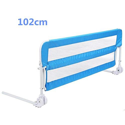 MVPOWER Barrera de Cama Guarda-sueños Barandilla para Cama de Bebé Abatible Metal / Plástico / Paño de Oxford Color Azul 102x 40x 50cm cm con Correa de 1.6 M (102cm)