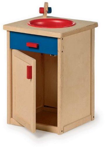 Küchenspüle aus Holz, Haushaltsspielzeug für authentischen Spielspaß mit Magnet-Tür und einer Spülwanne aus Plastik, Kinderküchen-Zubehör fördert die Kreativität und soziale Kompetenz