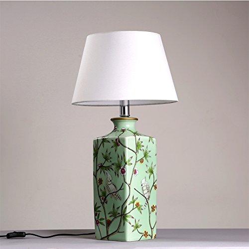 TOYM UK Moderne Chinesische Keramik Gemütliche Und Elegante  Neoklassizistische Tischlampe Schlafzimmer Nachttischlampen Dekoration Tuch  Kunst Tischlampe