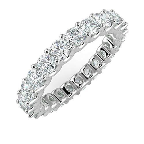"1.00Ct Round Diamond Claw Set"" U"" Prong Full Eternity Ring, 9k White Gold Size N"