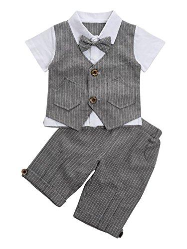 Baby Jungen Bekleidungssets Strampler + Weste Krawatte Anzug Gentleman Festliche Taufe Hochzeit Baby Kleikind für Frühling