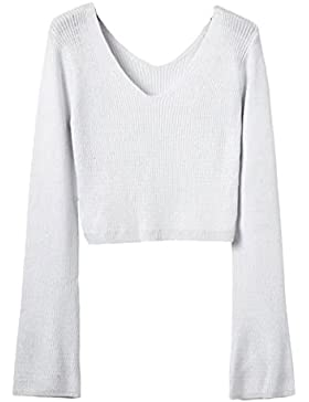 Yonglan Mujeres Color Sólido Corta Suéter Sweater Cuello V Manga Larga Jersey Pullover De Punto Jumper Blanco...
