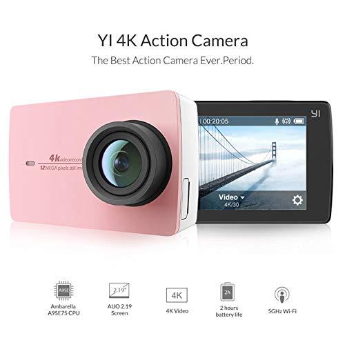 YI 4k Cámara de acción Full HD 12MP WiFi 155 ° Gran ángulo 1400mAh 120 Minutos 4K / 30 Video de Registro Rétine Pantalla Ecran táctil 2.19 - Rosca Individual [Edición Limitada Color Oro-Rosa]