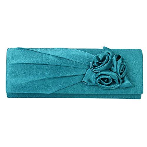 Sharplace Damen Clutch Satin Rose Abendtasche Handtasche Umhaengetasche Satin Strass Party Hochzeit - Türkis (Satin Abendtasche Handtasche)