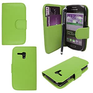 For Samsung Galaxy S3 III Mini i8190 Plain Green Book Type Pouch PU Leather Magnetic Flip Case Cover + Stylus + Guard