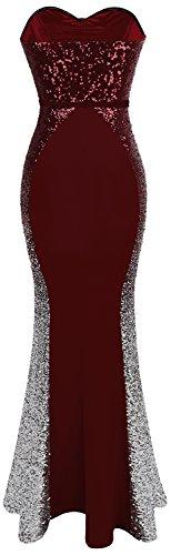 Angel fashions Da donna Senza spalline lustrino Arco Guaina Ordito Tesoro Lungo Abito da ballo Vino rosso
