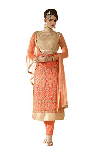SUNSHINE Peach Color Net Fabric Embroidery & Mirrorwork Salwar-suit (Semi-Stitched)( New Arrival Latest Best Design Beautiful Dresses Material Collection For Women and Girl Party wear Festival wear Special Function Events Wear In Low Price With High Demand Todays Special Offer and Deals with Fancy Designer and Bollywood Collection 2017 Punjabi Anarkali Chudidar Patialas Plazo pattern Suits )