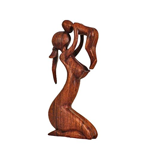 Holz Figur Skulptur Abstrakt Holzfigur Statue Afrika Asia Handarbeit Deko Mutter Größe 10 cm