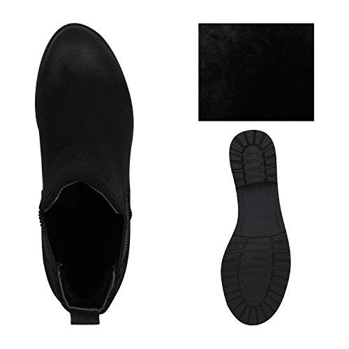 Stiefelparadies - Stivali Chelsea Donna Nero opaco