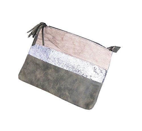Damen Clutch Wristlet Pochette Bag Tasche Cross Over Glitzer Glam (8324) (Weihnachts Outfits Ferien)