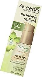 Aveeno Positively Radiant Cc Cream Broad Spectrum SPF 30, Fair To Light, 2. 5 Oz