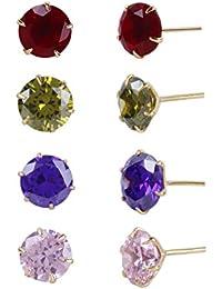 Fasherati Set von vier Kristall Ohrstecker für Mädchen