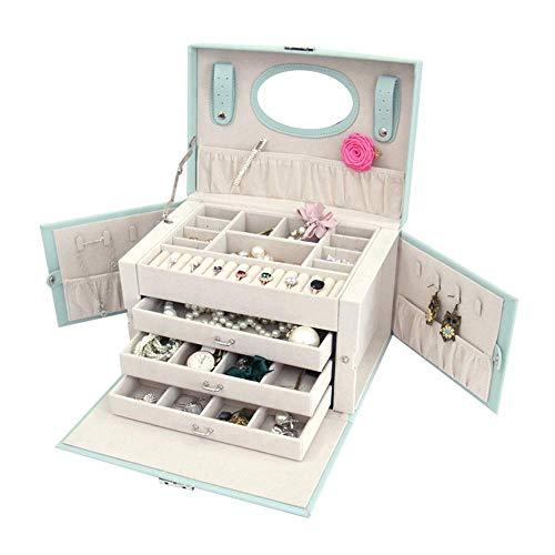AYHa Hochleistungs-Schmuckbox-Organisator, Schmuckbox-Schmuckschrank-Halsketten-Ring-Armband-Speicher-Halter-Weinlese-Fall-Geschenk 26Cm X18Cm X18Cm für Ring-Ohrring-Halskette,Minzgrün,Einheitsgröße