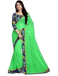 G J Kheni Brand Designer Neon Green Lycra Saree With Blouse Piece