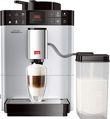 Melitta Caffeo Varianza CSP F570-101, Kaffeevollautomat mit Milchbehälter, One Touch Funktion, Silber -