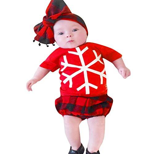 Yazidan 2 Stück Weihnachten Kleinkind Baby Kurzarm Schneeflocke-Druck Oben + Hose Einstellen Outfit Kleider Sätze Hosen Säugling Kleidung Neugeborenes Outfits Mädchen Jungen - Jungen Kostüm Schneeflocke