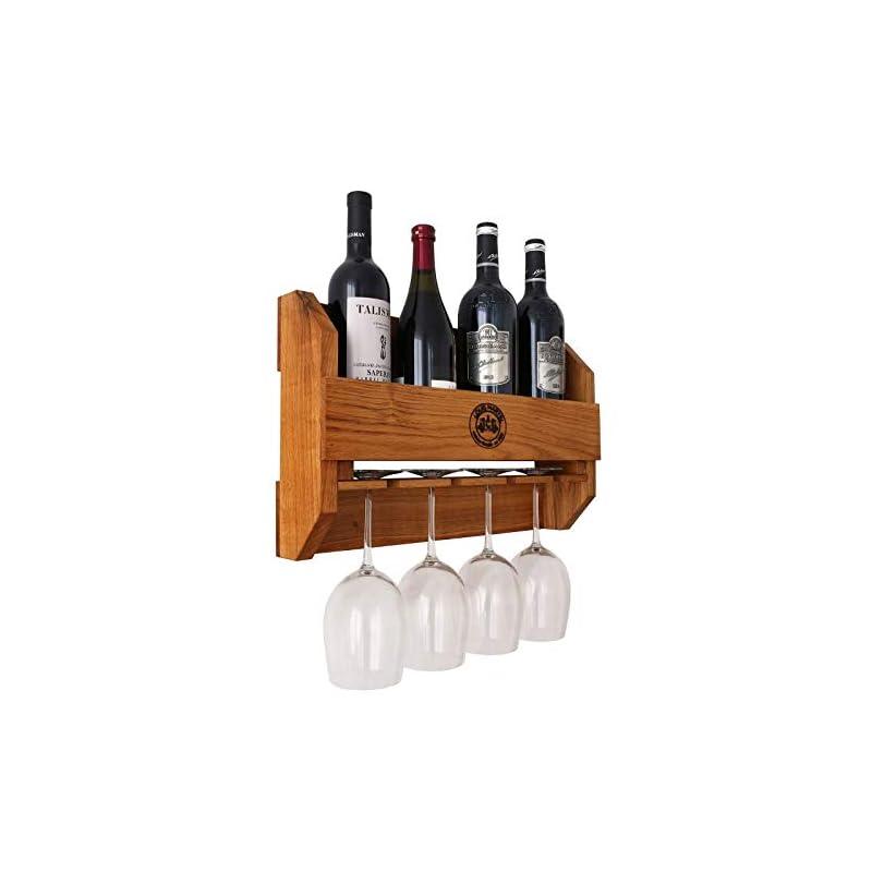 Bestloftde Original Louis Martel Weinregal Aus Eiche 4 5 Flaschen Und 4 Glser Flaschenregal Flaschenstnder Weinschrank Flaschenhalter Massiv