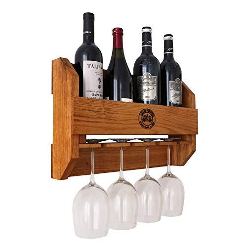 BestLoft.de Original-Louis Martel® Weinregal aus Eiche 4-5 Flaschen und 4 Gläser Flaschenregal Flaschenständer Weinschrank Flaschenhalter massiv