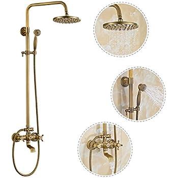 Retro Bronze Duschsystem Duscharmatur Mit Höhenverstellbar Duschstange  80~120 Cm, Überkopfbrause(20x20cm), Schlauch(150cm) Duschgarnitur  Regendusche Shower ...